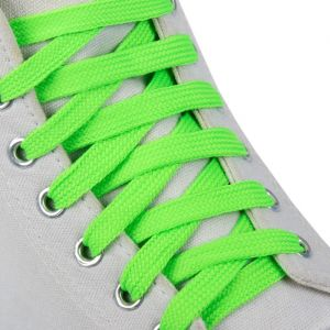 Шнурки для обуви, пара, плоские, 9 мм, 120 см, цвет зелёный