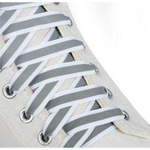 Шнурки для обуви, пара, плоские, со светоотражающей полосой, 10 мм, 110 см, цвет белый