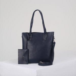 Сумка женская, отдел на молнии, наружный карман, с кошельком, длинный ремень, цвет синий
