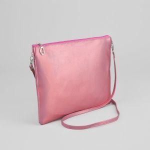 Сумка женская, отдел на молнии, длинный ремень, цвет розовый