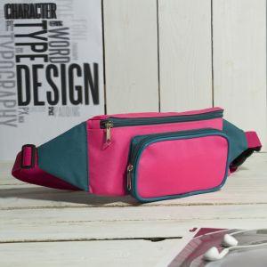 Сумка поясная, отдел на молнии, наружный карман, цвет розовый/бирюзовый