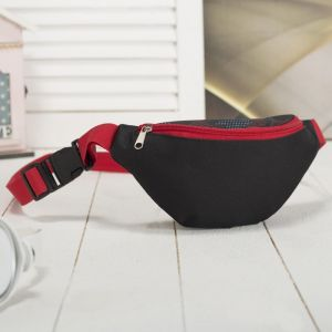 Сумка поясная, отдел на молнии, регулируемый ремень, цвет чёрный/красный