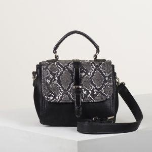 Сумка женская, 2 отдела на молнии, наружный карман, длинный ремень, цвет чёрный