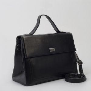 Сумка женская, отдел с перегородкой на молнии, 2 наружных кармана, длинный ремень, цвет чёрный