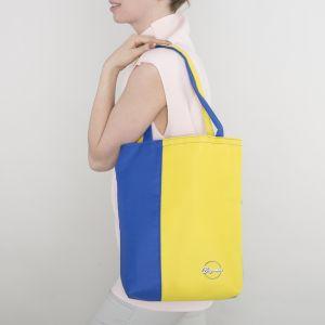 Сумка летняя, отдел без молнии, без подклада, цвет голубой/жёлтый