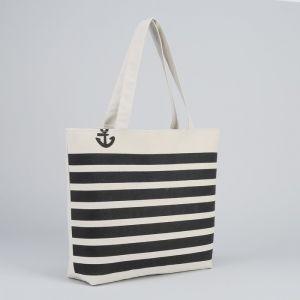 Сумка текстильная, отдел на молнии, без подклада, цвет белый/чёрный