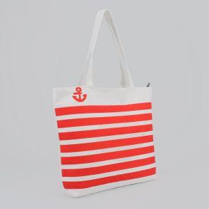 Сумка текстильная, отдел на молнии, без подклада, цвет белый/красный