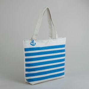 Сумка текстильная, отдел на молнии, без подклада, цвет белый/синий