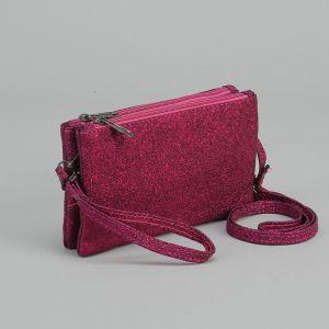 Клатч женский, 2 отдела на молниях, наружный карман, с ручкой, длинный ремень, цвет фиолетовый