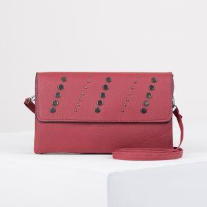 Клатч женский, 3 отдела на молнии, длинный ремень, цвет красный