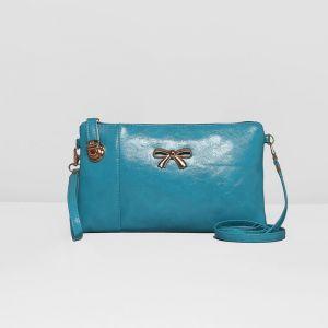 Клатч женский, 1 отдел с перегородкой, наружный карман, с ручкой, длинный ремень, цвет бирюзовый