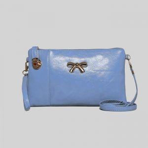 Клатч, отдел на молнии с перегородкой, наружный карман, с ручкой, длинный ремень, цвет голубой
