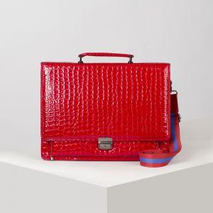 Папка деловая, 2 отдела на клапане, 2 наружных кармана, длинный ремень, цвет ярко-красный