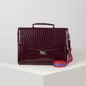 Портфель, 5 отделов на клапане, 3 наружных кармана, длинный ремень, цвет бордовый