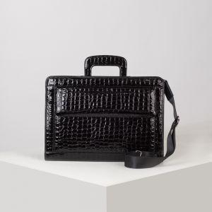 Портфель, 5 отделов на молнии, отдел для планшета, 3 наружных кармана, длинный ремень, цвет чёрный