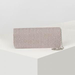 Клатч женский, отдел на клапане, длинная цепь, цвет розовый