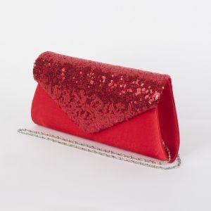 Клатч женский, отдел на магните, длинная цепь, цвет красный