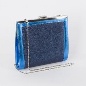 Клатч женский, отдел на фермуаре, длинная цепь, цвет синий