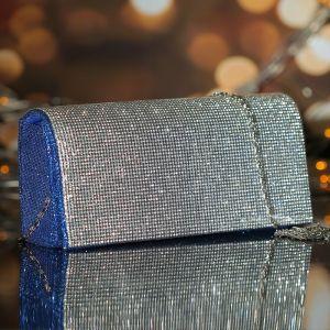 Клатч женский, отдел на магните, длинная цепь, цвет синий