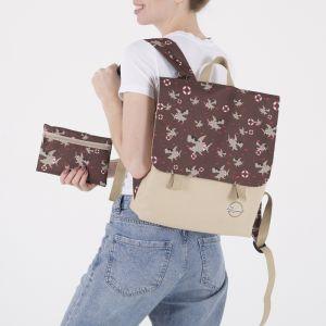 Рюкзак молодёжный, отдел на молнии, с косметичкой, цвет бежевый