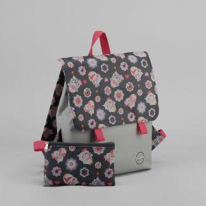 Рюкзак молодёжный, с косметичкой, отдел на молнии, цвет серый