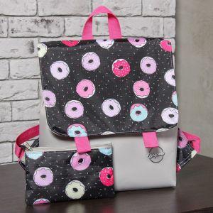 Рюкзак молодёжный, отдел на молнии, с косметичкой, цвет чёрный/серый