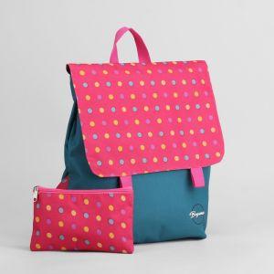Рюкзак молодёжный, с косметичкой, отдел на молнии, цвет бирюзовый/розовый
