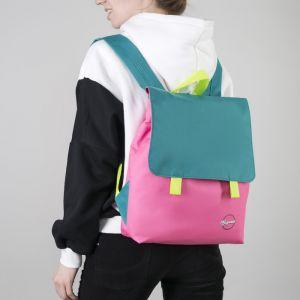 Рюкзак молодёжный, отдел на молнии, с косметичкой, цвет бирюзовый/розовый