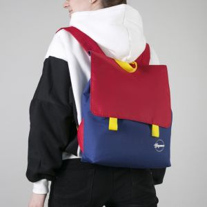 Рюкзак молодёжный, с косметичкой, отдел на молнии, цвет синий/красный