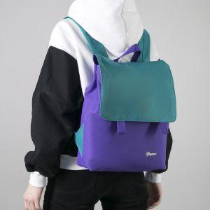 Рюкзак молодёжный, отдел на молнии, с косметичкой, цвет бирюзовый/сиреневый