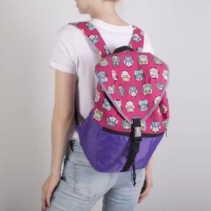 Рюкзак молодёжный-торба, отдел на клапане, наружный карман, цвет фиолетовый/розовый