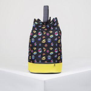 Рюкзак молодёжный-торба, отдел на шнурке, цвет чёрный/жёлтый