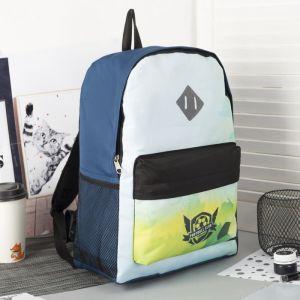Рюкзак молодёжный, отдел на молнии, наружный карман, цвет синий/белый