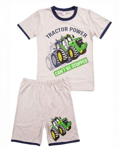 """Комплект для мальчика 4-8 лет BONITO """"Tractor power"""" светло-серый"""
