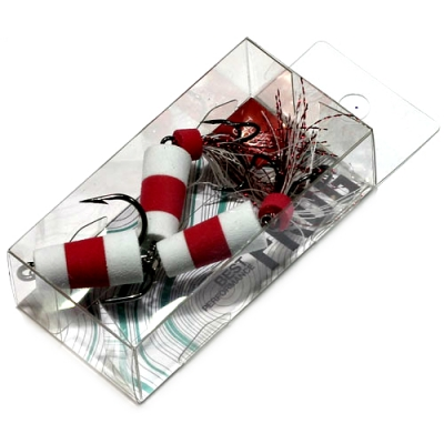 Мандула приманка на щуку Lucky John Frog р. 70 мм, цв. бело-красно-белый