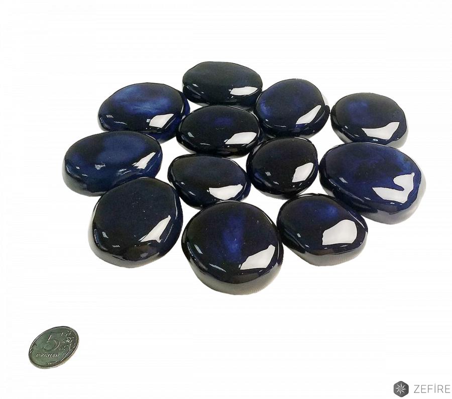 Декоративные керамические камни космос (синие) 14 шт
