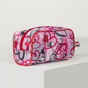 Косметичка дорожная, отдел на молнии, цвет красный/розовый