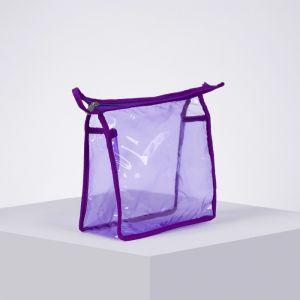 Косметичка ПВХ, отдел на молнии, цвет фиолетовый