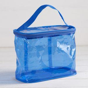 Косметичка-сумочка, отдел на молнии, с ручкой, цвет голубой