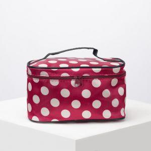 Косметичка-сумочка, отдел на молнии, с зеркалом, цвет бордовый/белый
