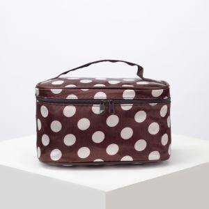 Косметичка-сумочка, отдел на молнии, с зеркалом, цвет коричневый/белый
