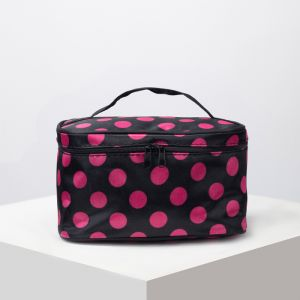 Косметичка-сумочка, отдел на молнии, с зеркалом, цвет чёрный/малиновый