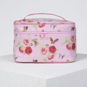 Косметичка-сундучок, отдел на молнии, зеркало, цвет розовый