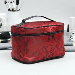 Косметичка-сундучок, отдел на молнии, зеркало, цвет бордовый