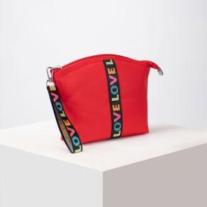 Косметичка-сумочка, отдел на молнии, с ручкой, цвет красный