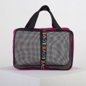 Косметичка-сумочка, отдел на молнии, сетка, цвет серый/малиновый