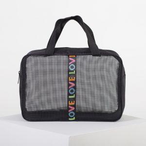 Косметичка-сумочка, отдел на молнии, сетка, цвет серый/чёрный