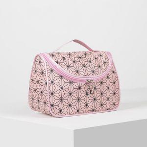 Косметичка-сумка, отдел на молнии, зеркало, цвет розовый