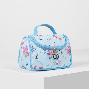 Косметичка-сумка, отдел на молнии, зеркало, цвет голубой