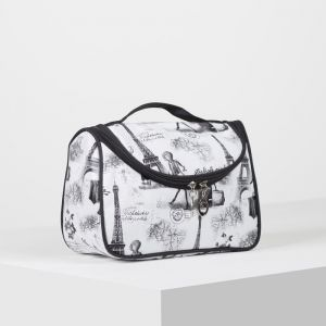 Косметичка-сумка, отдел на молнии, зеркало, цвет серый